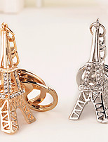 Rhinestone Paris Eiffel Tower Key Chain Ring Keyring (Random Color)