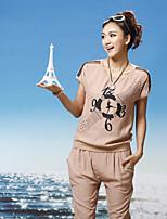 Women's Print White/Beige T-shirt , Hooded Short Sleeve