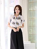 Women's Print/Work OL Stand Collar Slim Micro-elastic Short Sleeve Regular Blouse (Chiffon)