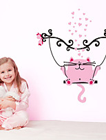 Wall Stickers Wall Decals, Pink Cat Swinging PVC Wall Stickers