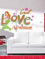 Wall Stickers Wall Decals Style Beauty Gril Fish PVC Wall Stickers