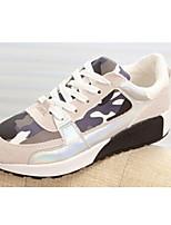 Zapatos de mujer - Tacón Plano - Punta Redonda - Sneakers a la Moda - Exterior - Tela - Rosa / Gris