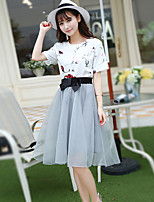 xiw&F Women's Casual/Cute/Party/Plus Sizes Short Sleeve T-shirt And Tutu Skirt Suit