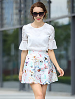 Women's Floral/Patchwork Multi-color Blouse , Round Neck Short Sleeve Flower