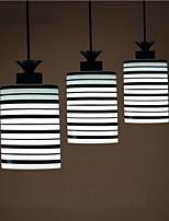 Modern Black/White Stripe Print Pendant Light with One Light