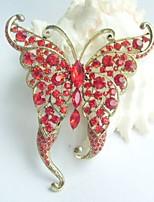 Women Accessories Gold-tone Red Rhinestone Crystal Butterfly Brooch Art Deco Crystal Brooch