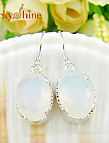 Oval Fire Rainbow Moonstone Gem Prong Setting Earring Drop Earrings For Wedding Party Daily 1pair