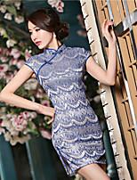 Cocktail Party Kleid - Blau Satin - Etui-Linie - mini - Stehkragen