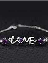Women's Silver Chain With Love Rhinestone Bracelet