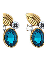 Women's European Style Retro Fashion Wild Leaves Imitation Gemstones Earrings