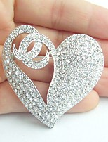 Women Accessories Wedding Silver-tone Clear Rhinestone Crystal Love Heart Brooch Wedding Deco Crystal Brooch