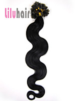 20inch 0.5g/s 100s Pre-bonded Keratin Nail U Tipped Remy Human Hair Extensions Color #01 Jet Black 50g