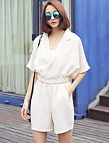 Women's Suit Jacket Collar Bat Sleeve Waist Shorts Piece