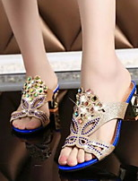 Women's Shoes PU Leather/Glitter Chunky Heel Wedges/Peep Toe Slippers Office & Career/Dress/Casual