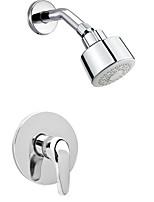 Modern Bathroom Wall Mount 1-Function Concealed Chrome Polished Shower System