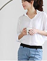 Women's Solid White/Green Shirt , Shirt Collar Long Sleeve