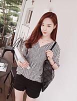 Women's Striped/Color Block Multi-color T-shirt , V Neck Short Sleeve