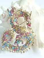 Women Accessories Gold-tone Multicolor Rhinestone Crystal Dragon Brooch Art Deco Crystal Brooch Pin