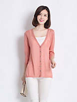 Women's Casual Micro-elastic Medium ¾ Sleeve Cardigan (Linen)
