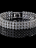 Gorgeous Women's Silver Alloy with Clear Crystals Wedding Jewelry Cubic Zirconia Bracelt (with Gift Box)