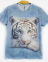 European Style TEE Digital Printing 3D  Animal Blue Tiger T-shirt Harajuku Sleeved T-shirt