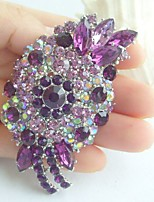 Women Accessories Silver-tone Purple Rhinestone Crystal Flower Brooch Wedding Deco Brooch Bouquet Wedding Jewelry
