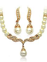 Жемчужные ожерелья Мода Euramerican Жемчуг Стразы Сплав Геометрической формы 1 ожерелье 1 пара сережек ДляСвадьба Для вечеринок Обручение