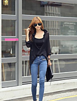 Women's Solid White/Black Shirt , Shirt Collar Long Sleeve Hollow Out/Embroidery