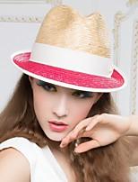 Women Casual Summer Straw Fedora Hat