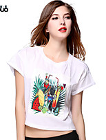 Women's O-neck Fruit Printed Short Sleeve Pure Cotton Crop Top T-shirt