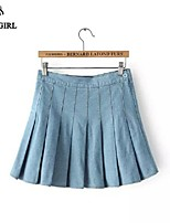LIVAGIRL®Women's Skirt Fashion Europe New Style A-line Jean Pleated Skirt Casual Sweet Lady Preppy Skirt