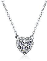 2CT Heart Shape Solitaire Pendant SONA Simulate Diamond 925 Silver Necklace Wedding Women Pendant 18K White Gold Plated