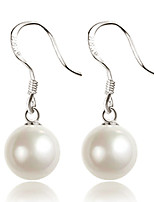 Circular Shell Pearl Sterling Silver Hypoallergenic Married Jewelry Water Droplets Long Section Earrings