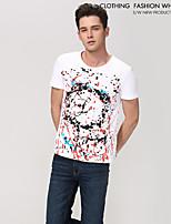 Herren Formal/Sport T-Shirt  -  Karomuster/Einfarbig Kurz Kaschmir/Baumwolle/Strickwaren/Lycra/Wolle/Wollmischung