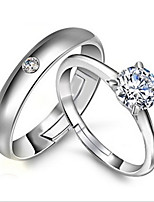 Couples' Silver Ring With Rhinestone