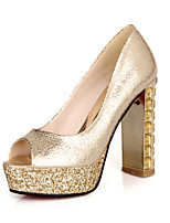 Women's Shoes Chunky Heel Peep Toe Sandals Outdoor/Casual Silver/Gold