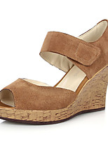 Women's Shoes Leather Wedge Heel Wedges Sandals Outdoor/Office & Career/Casual Multi-color