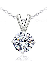 Gorgeous Women's Gold/ Silver Alloy with Clear Crystals Wedding Jewelry Cubic Zirconia Necklace (with Gift Box)
