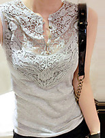 Women's Solid White/Black/Gray Vest , V Neck Sleeveless Lace
