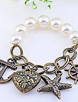 Vintage Anchor Charm Pearl Elastic Bracelet