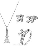 T&C Women's Classic Eiffel Tower Jewelry Set 18K White Gold Plated Clear Crystal Eiffel Tower Necklace Earring Ring Set