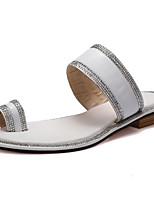 Chaussures Femme Cuir Talon Plat Bride Orteil Sandales Extérieure/Décontracté Blanc