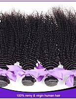 4pcs no procesados / lot 12-22inch # 1b indio rizado rizado 100% pelo indio remy virginal del pelo rizado tejen cabello humano