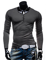 Men's Casual/Work/Sport Pure Long Sleeve Regular T-Shirt (Cotton Blend)