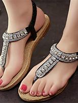 Women's Shoes Flat Heel Toe Ring Sandals Dress Black/Silver