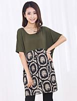 Women's Casual/Cute Micro-elastic Short Sleeve Long T-shirt (Chiffon/Cotton)