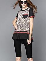 Women's Vintage Plus Sizes Micro Elastic Short Sleeve Regular T Shirt (Cotton Microfiber)