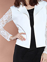 Women's Solid/Patchwork/Lace White Blazer , Work Shirt Collar Long Sleeve Lace