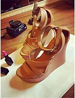 Damenschuhe Kunststoff Keilabsatz Wedges Sandalen Lässig Braun