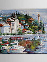 Oil Painting Decoration Abstract Mediterranean Scene Hand Painted Canvas with Stretched Framed